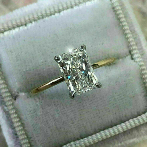 1.50 Ct Emerald Cut Diamond Engagement Solitaire Ring Solid 14k Yellow Gold Over