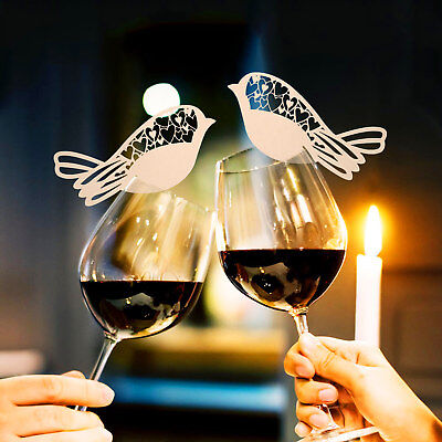 10-200 Laser Cut Bird Wedding Wine Glass Place Name Cards Paper Hollow Cup Card](Wedding Placecards)