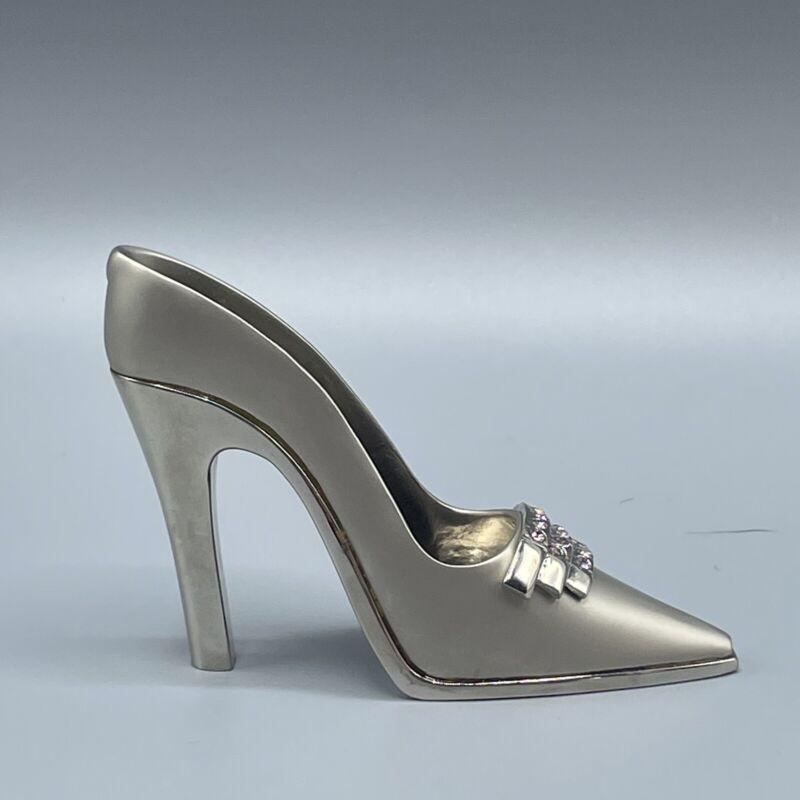 JuJu Palais Royale CORINNE Swarovski Crystal Shoe - Brushed Silver Pink Crystals