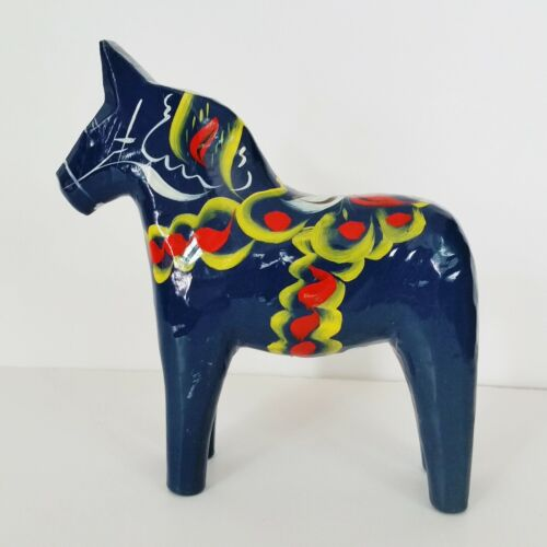 Vintage Nils Olsson Blue Carved Wooden Blue Horse Akta Dalahemslojd Swedish