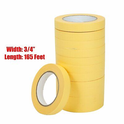 "Automotive Refinish Masking Tape Yellow 3/4"" x 60 yds - 12 Rolls 06652"