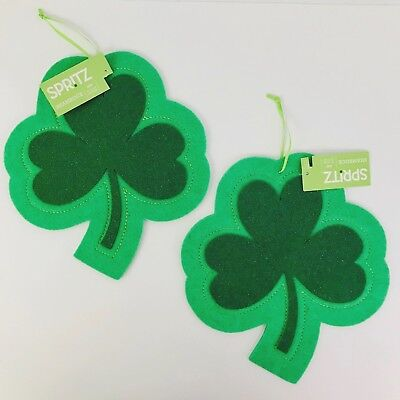 St Patricks Day Decorations Hanging Shamrock Green Felt Glitter 9.75in Set of 2