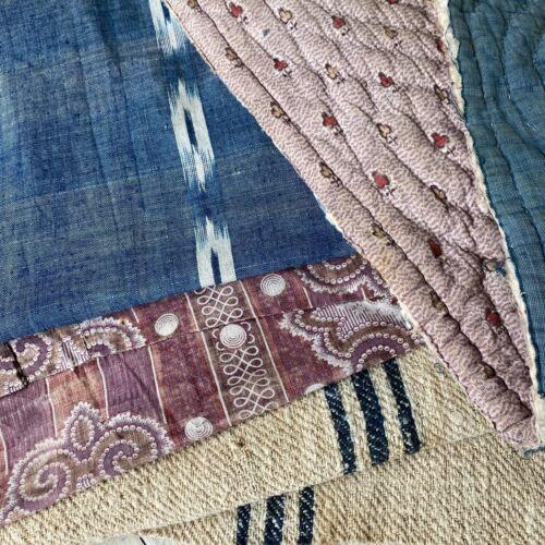 Antique Vintage French Fabric Scraps Pack Quilt Remnant Indigo Stripe Linen