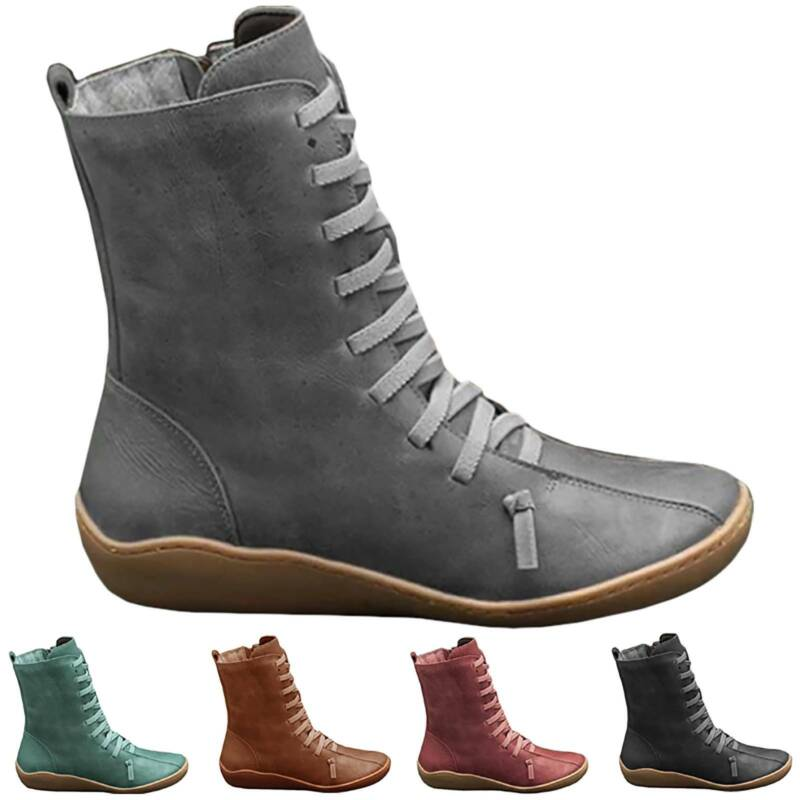 Women Boots Arch Support Ankle Suede Zip Lace Up Winter Low