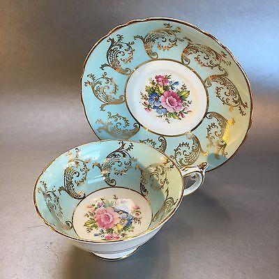 (Paragon Mint Green Bone China TeaCup & Saucer Set England Gold Swirl Floral)