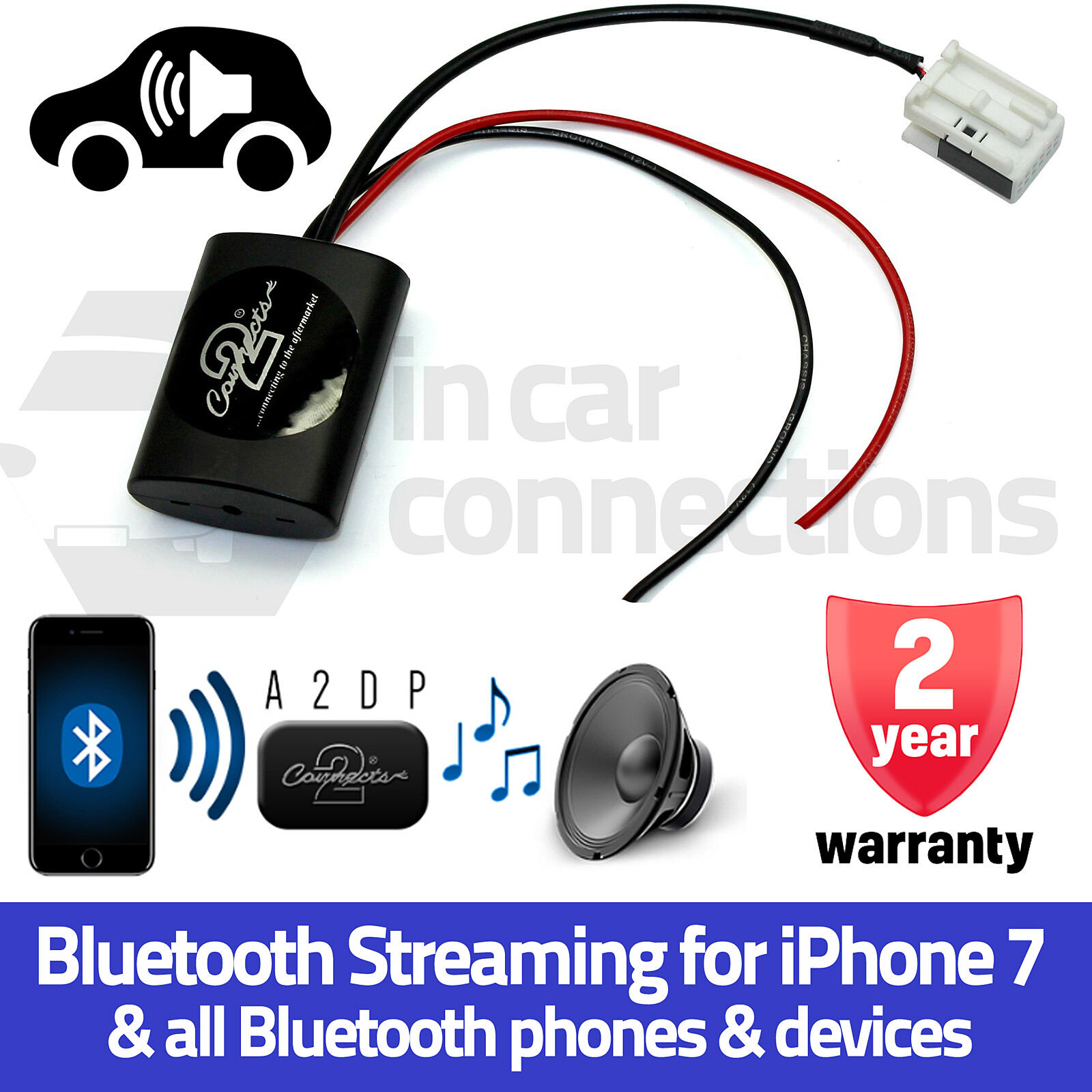 AUDI A4 Bluetooth streaming de música mp3 AUX Interfaz Adaptador iPhone 5 6 7 Samsung