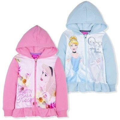 Disney Princess Girls Warm Hoodie Hooded Jacket Jumper Zipped Cardigan 2-6 Yrs
