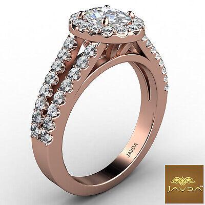 Halo Split Shank Oval Shape Diamond Engagement French Pave Ring GIA I SI1 1.47Ct 9