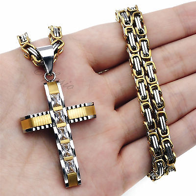 5MM Mens Boys Silver Gold Stainless Steel Byzantine Chain Cross Pendant Necklace - Boys Cross Necklaces
