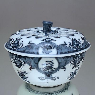 Meissen: Deckelschüssel mit Lambrequin in Blau Schale Hase Lotus Dose 1989 bowl