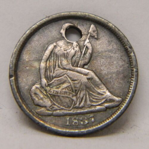1837 No Stars Seated Liberty Half Dime. VF Details Holed
