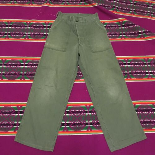 VINTAGE US ARMY COTTON HERRINGBONE PANTS 50S BUTTON FLY BAKER PANTS
