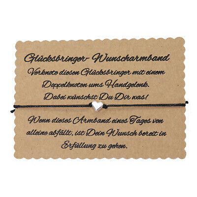 Wunscharmband make a wish Armband Freundschaft Liebe Glücksbringer Herz Schwarz