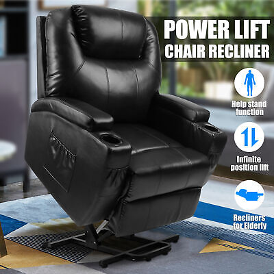 Power Lift Chair Recliner Armchair Sofa Real Leather Elderly Chair Seat Black
