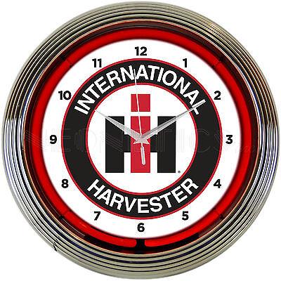 Neon sign Clock International Harvester IH Case Farm Tractor  barn lamp light