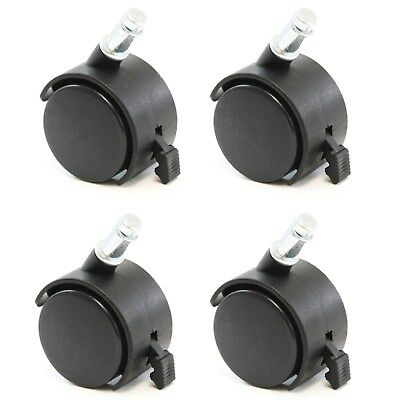 4 Office Chair Stem Twin Wheel 2 Caster Replacement 716 Grip Ring Style Set