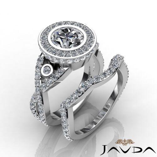 Natural 3.6ct Round Diamond Engagement Bridal Set Bezel Ring GIA F SI1 Platinum