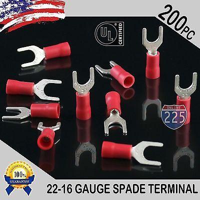 200 Pack 22-18 Gauge Vinyl Spade Fork Crimp Terminals 10 Stud Tin Copper Core