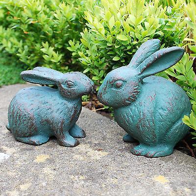 Pair of Rabbit Animal Garden Ornaments Cast Iron Verdigris Finish Bunnies