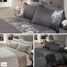 Sienna Crushed Velvet Panel Duvet Cover with Pillow Case Bedding Set Silver Grey