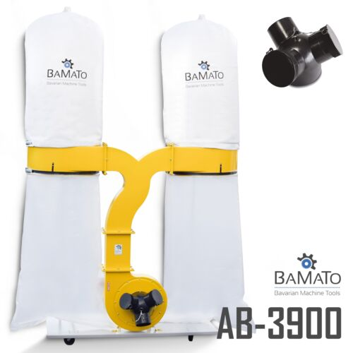 BAMATO Absauganlage AB-3900 mit Y-Adapter Späneabsaugung Absaugung 400V