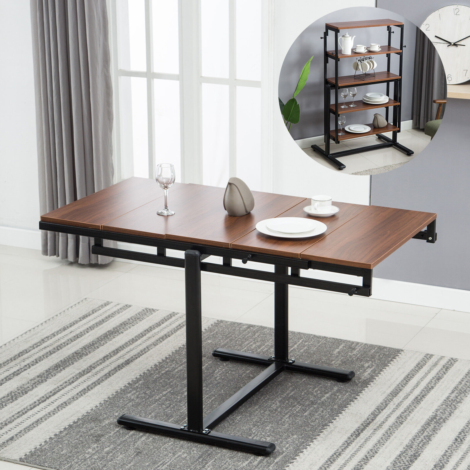 2in1 Folding Wooden Dining Table 5-Tier Bookcase Shelf Kitch