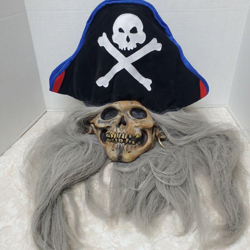 Mario Chiodo Studios Pirate Halloween Mask Long Hair Hat Earrings Scary Creepy