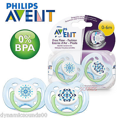 Philips AVENT SCF180/23 Contemporary Freeflow Soothers (0-6 Months 2 Pack) Green
