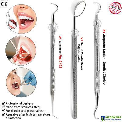 3pcs Dental Examination Dentists Pick Tools Kit Tartar Scraper Scalers Probe Lab