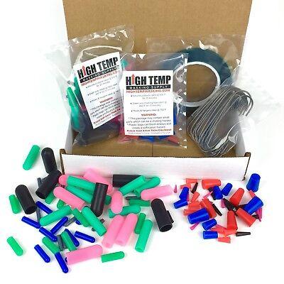 124 Piece Powder Coating Kit - High Temp Silicone Plugs, Caps & Masking Tape