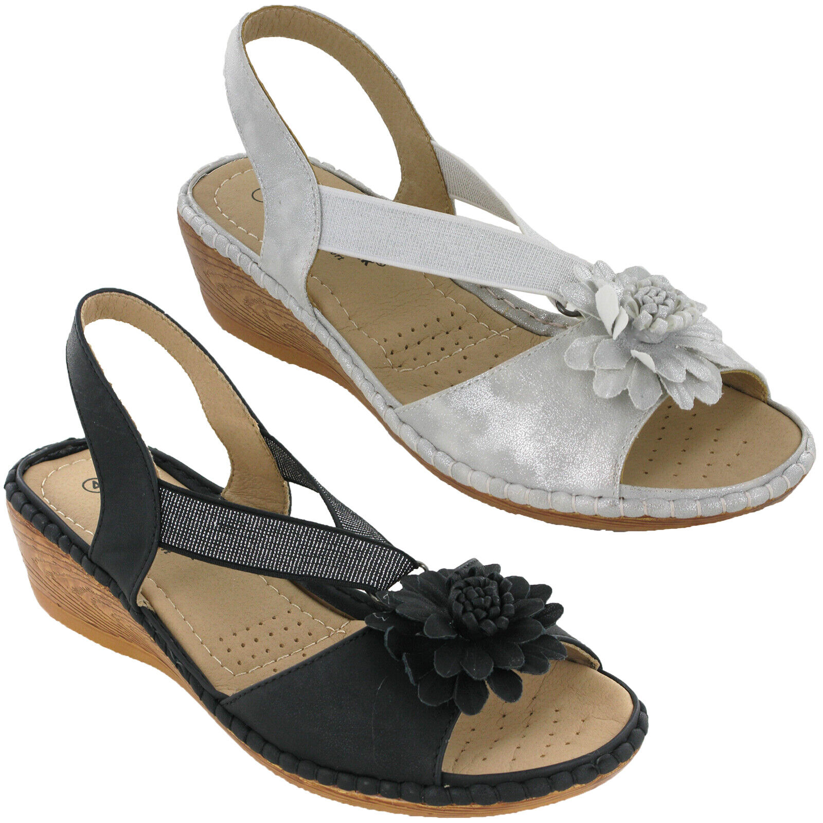Details about Cushion Walk Slingback Elasticated Sandals Wedge Soft Summer Cushioned Comfort