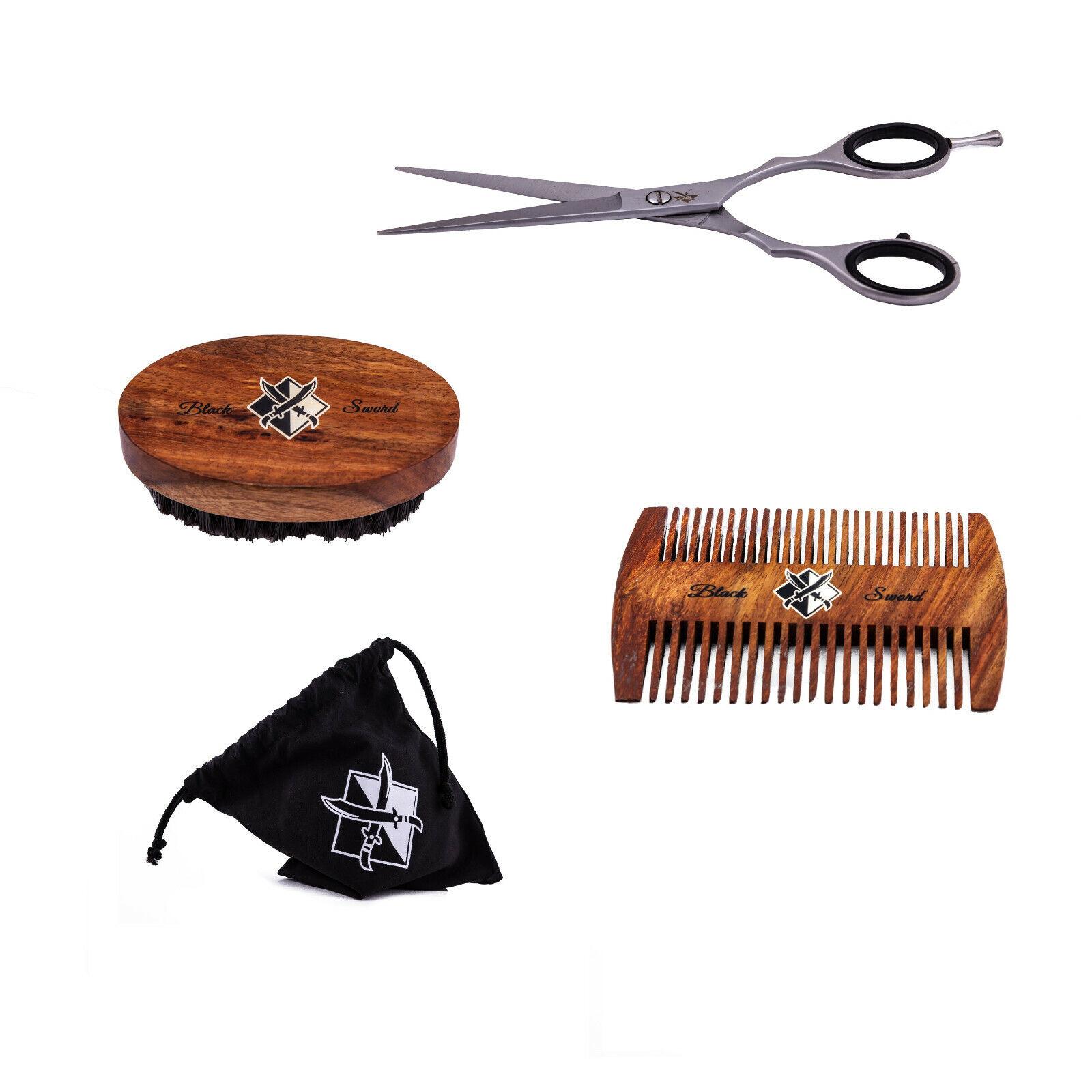 BlackSword Bartpflege Set | Bartbürste | Bartkamm | Haarschere | Tasche