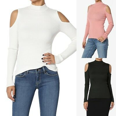 Long Sleeve Ribbed Knit Top (TheMogan Cold Shoulder Mock Neck Ribbed Knit Top Cutout Long Sleeve Sweater )