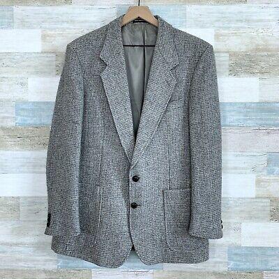 Harris Tweed Scottish Wool 2 Button Sport Coat Gray Patch Pocket Mens 44R
