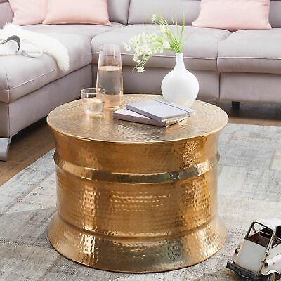 Asiatische Wohnzimmer Beistelltisch (FineBuy Couchtisch Gold Wohnzimmertisch Ø 62 cm Beistelltisch Rund Tisch Alu)