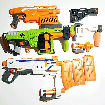 NERF Guns Lot of 11 pcs Modulous regulator dominator demolisher 2in1 attachments