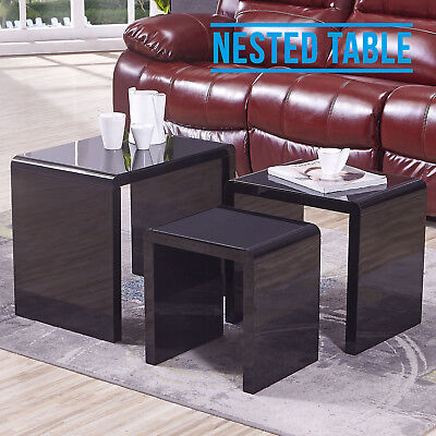 High Gloss Black + Black Tempered Glass Top Nest of Tables 3 Coffee Tables