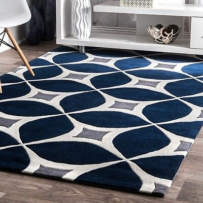 nuLOOM Hand Made Contemporary Geometric Trellis Area Rug in Navy Blue and Gray - Navy Contemporary Rug