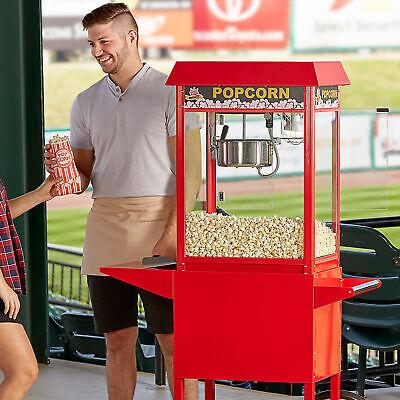 Stainless Steel 8 Oz. Red Commercial Popcorn Machine Popper - 120v 1320w
