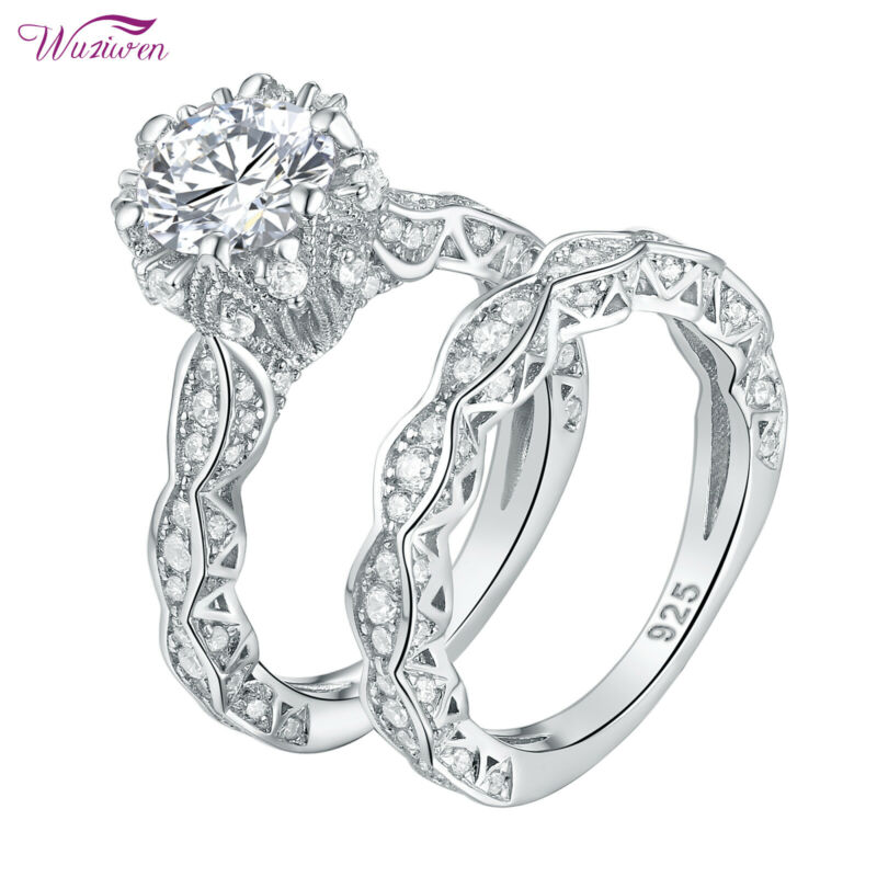 Wuziwen Wedding Engagement Ring Set For Women 4ct Round Aaaa Cz Sterling Silver