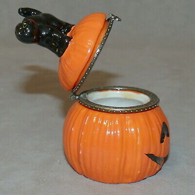 Trinket Box Jewelry Holder HALLOWEEN Pumpkin Cat RANA'S VARIETY STORE USA SELLER