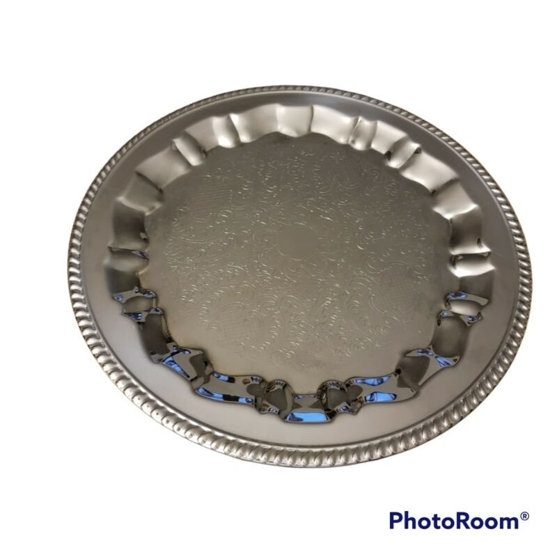 """18"""" Silver plate serving tray - Round Silverplated Etched"""