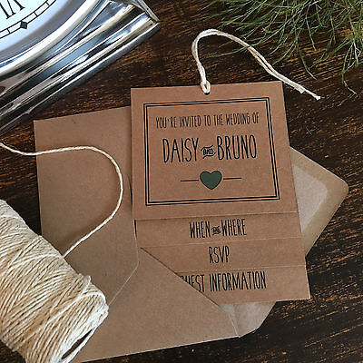 Handmade Wedding Invitations, Mint Green & Brown Kraft, Vintage Rustic Style
