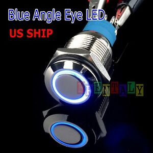 Durable 12V Led 16mm Car Momentary Push Button Blue Angel Eye Metal  Switch