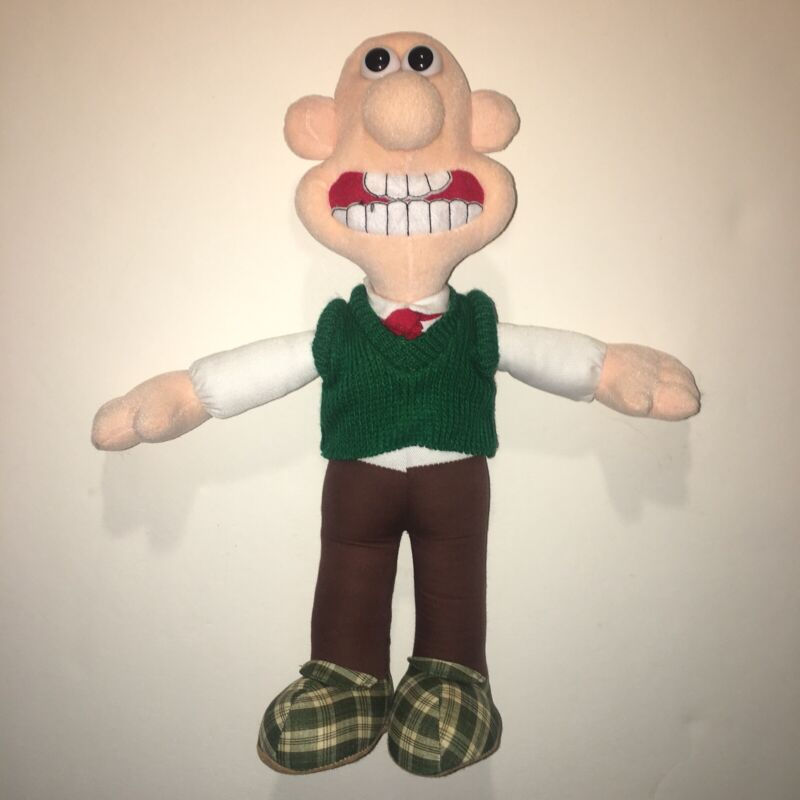 "Vintage 80s Wallace & Gromit Movie Cartoon Toy Plush Doll Wallace 14"" 1989 MINT"