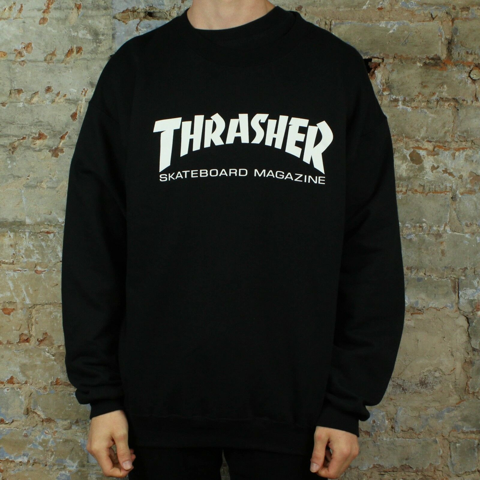711b8307c7f Details about Thrasher Stock Logo Pullover Jumper Sweatshirt – Black in size  S
