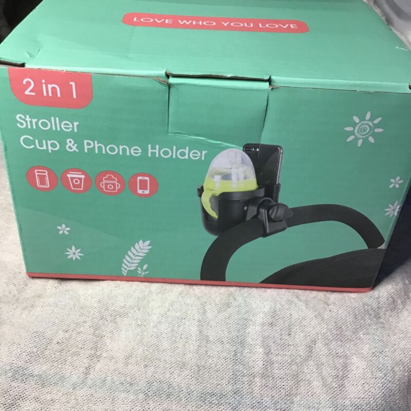 NEW - 2 IN 1 STROLLER MOUNTED CUP & PHONE HOLDER BLACK EASY INSTALL - FREE Ship