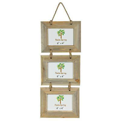 Wooden Shabby Chic Rustic Driftwood Triple Hanging Photo Picture Frame-6x4""