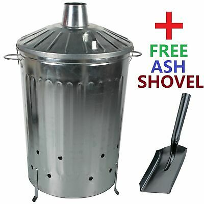 CrazyGadget 125 Litre 125L Extra Large Galvanised Metal Incinerator Fire Burn...
