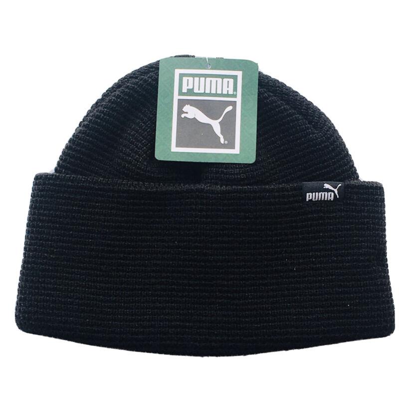 Puma Beanie Hat Youth Boys Girls Black Knit Winter Hat OS